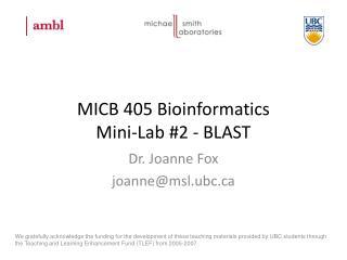 MICB 405 Bioinformatics Mini-Lab #2 - BLAST