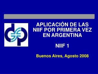 APLICACI N DE LAS NIIF POR PRIMERA VEZ EN ARGENTINA   NIIF 1  Buenos Aires, Agosto 2008