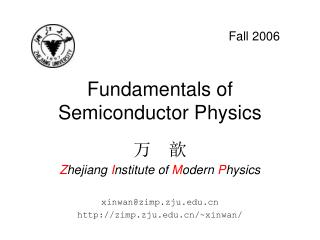 Fundamentals of Semiconductor Physics