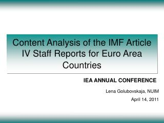 Content Analysis of the IMF Article IV Staff Reports for Euro Area Countries