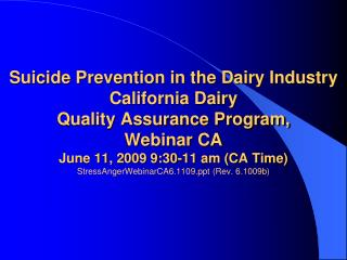Suicide Prevention in the Dairy Industry