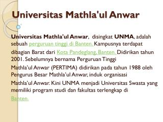 Universitas Mathla'ul  Anwar