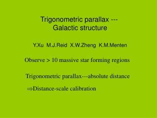 Trigonometric parallax --- Galactic structure Y.Xu  M.J.Reid  X.W.Zheng  K.M.Menten
