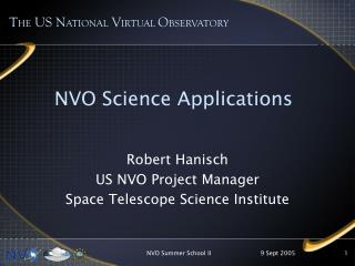 Robert Hanisch US NVO Project Manager Space Telescope Science Institute