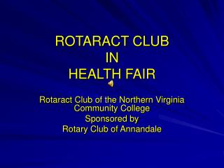 ROTARACT CLUB IN HEALTH FAIR