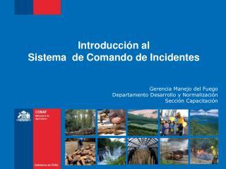 Introducción al  Sistema  de Comando de Incidentes Gerencia Manejo del Fuego