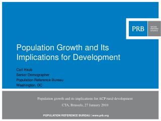 Population Growth and Its Implications for Development
