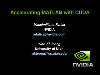 Accelerating MATLAB with CUDA
