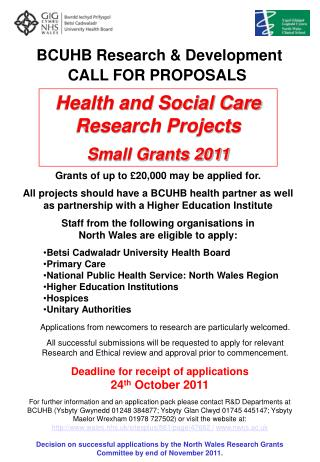 BCUHB Research & Development CALL FOR PROPOSALS