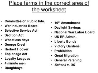 Place terms in the correct area of the worksheet