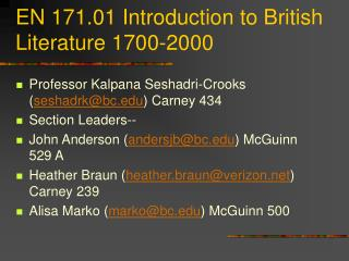EN 171.01 Introduction to British Literature 1700-2000