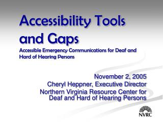 November 2, 2005 Cheryl Heppner, Executive Director