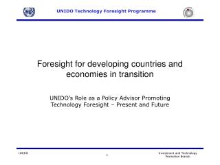 Foresight for developing countries and economies in transition