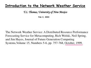 Introduction to the Network Weather Service