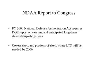 NDAA Report to Congress