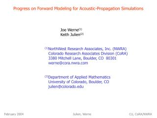 Progress on Forward Modeling for Acoustic-Propagation Simulations