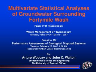 Multivariate Statistical Analyses of Groundwater Surrounding Fortymile Wash