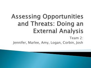 Assessing Opportunities and Threats: Doing an External Analysis
