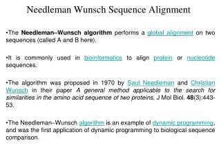 Needleman Wunsch Sequence Alignment