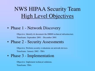 NWS HIPAA Security Team High Level Objectives