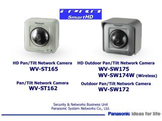 HD Pan/Tilt Network Camera WV-ST165 Pan/Tilt Network Camera WV-ST162