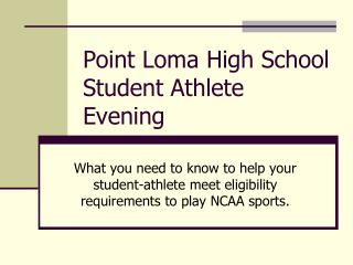 Point Loma High School Student Athlete Evening