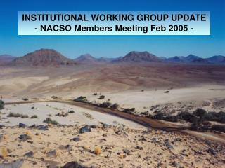 INSTITUTIONAL WORKING GROUP UPDATE - NACSO Members Meeting Feb 2005 -