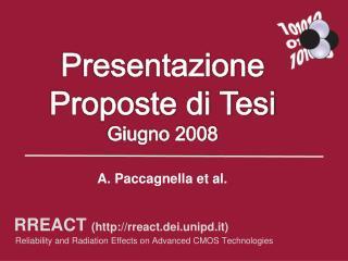 Presentazione Proposte di Tesi Giugno 2008