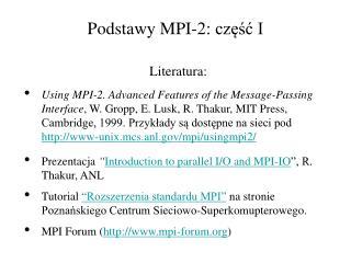 Podstawy MPI-2: część I
