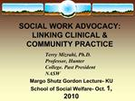 SOCIAL WORK ADVOCACY: LINKING CLINICAL  COMMUNITY PRACTICE