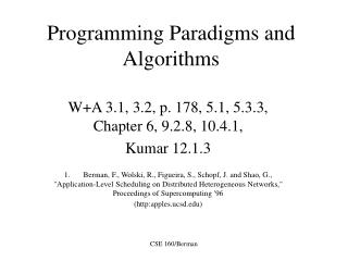 Programming Paradigms and Algorithms