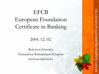 EFCB European Foundation Certificate in Banking
