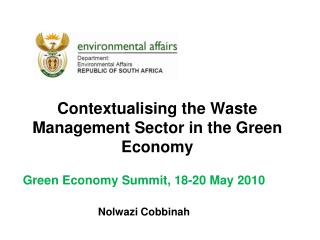 Contextualising the Waste Management Sector in the Green Economy