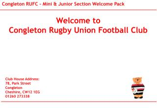 Welcome to  Congleton Rugby Union Football Club