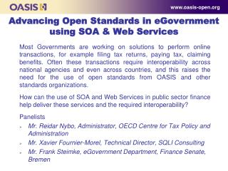Advancing Open Standards in eGovernment using SOA & Web Services