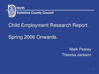 Child Employment Research Report. Spring 2006 Onwards.