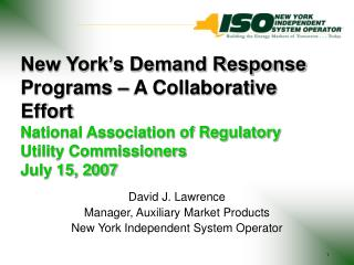 David J. Lawrence Manager, Auxiliary Market Products New York Independent System Operator