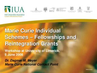 Marie Curie Individual Schemes   Fellowships and Reintegration Grants Workshop at University of Limerick,