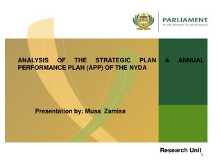 ANALYSIS OF THE STRATEGIC PLAN & ANNUAL PERFORMANCE PLAN (APP) OF THE NYDA