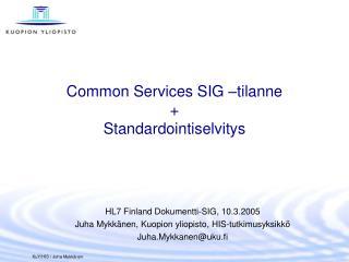 Common Services SIG –tilanne + Standardointiselvitys