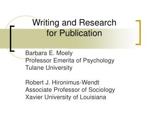 Writing and Research for Publication