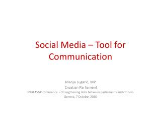 Social Media   Tool for Communication