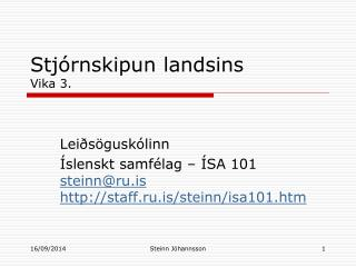 Stjórnskipun landsins Vika 3.