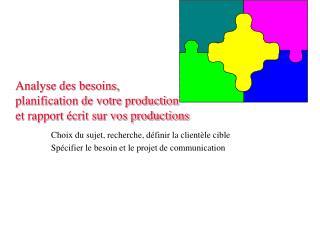 Analyse des besoins,  planification de votre production et rapport  crit sur vos productions