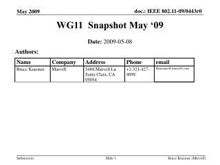 WG11  Snapshot May '09