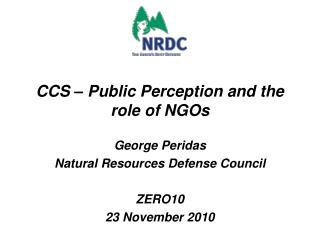 CCS – Public Perception and the role of NGOs