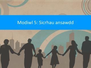 Modiwl 5: Sicrhau ansawdd