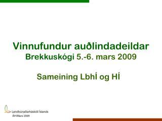 Vinnufundur auðlindadeildar Brekkuskógi  5.-6. mars 2009