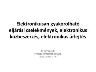 dr. Torma Judit Synergon Informatika Nyrt. 2008. július 3. IIR
