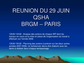 REUNION DU 29 JUIN QSHA  BRGM   PARIS